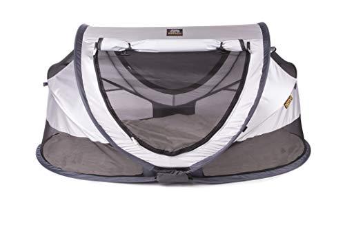 Deryan Reisebett/Travel-cot Peuter Reisebettzelt inklusive Zelt + selbstaufblasende Matratze + Baumwollbezug mit Reißverschluss mit Pop-Up innerhalb 2 Sekunden aufgebaut, silver