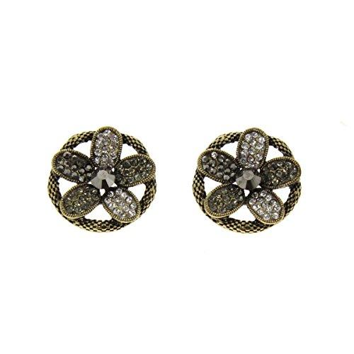 Fashiongen - Boucles d'oreilles noeud papillon, strass Bronze