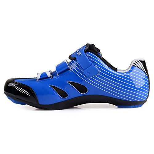 Herren/ Mann Professionelle Radschuhe Rennrad Fahrradschuhe EU Größe 41 Ft 25.5cm Blau/Schwarz (Wählen Sie eine Größe mehr als üblich) - 5