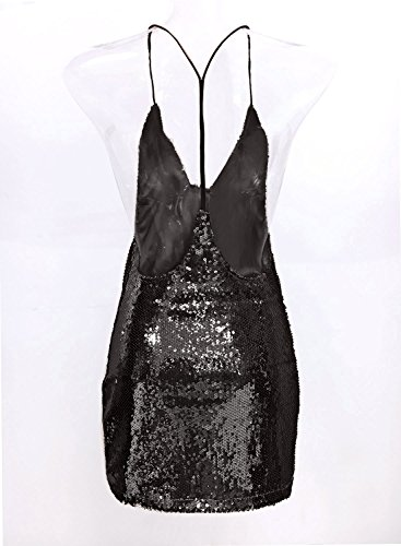 Futurino Femmes Sexy Col V Paillette Dos nu Party Mini Dress Black