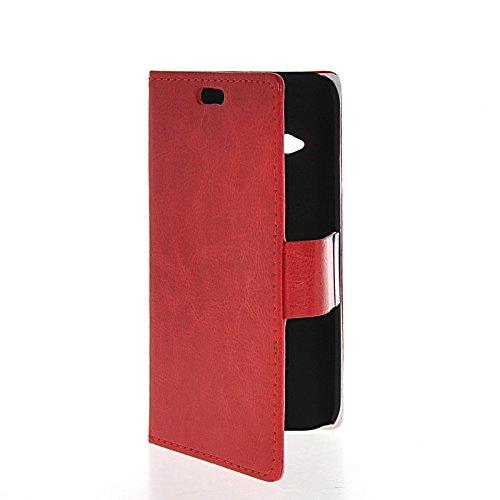 MOONCASE Coque en Cuir Portefeuille Housse de Protection Étui à rabat Case pour Apple iPhone 6 Plus Rose Rouge 02