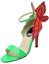 HooH Mujer Sandalias Peep Toe Stiletto Multicolor Mariposa Zapatos de tacón