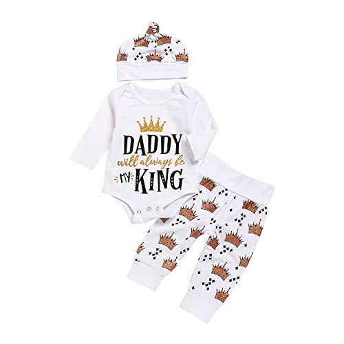 Anywow Newborn Unisex Baby 3pcs Outfits Buchstaben Langarm Strampler Body + Krone Gedruckt Hosen + Hut Daddy Will Always Be My King Brief gedruckt Kleidung Set 0-18 Monate (Kleidung Mein Baby Daddy)