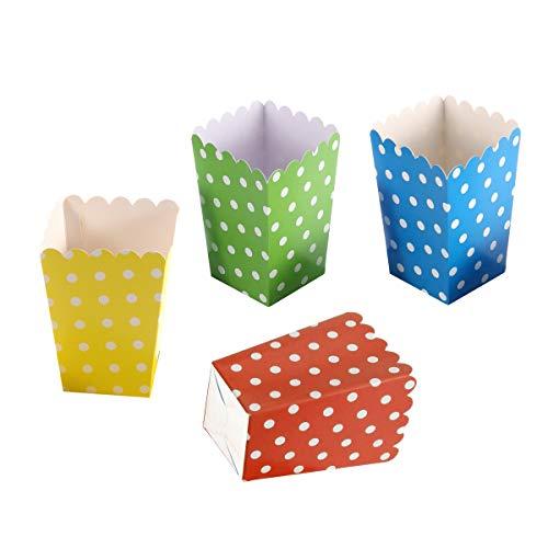 TOYMYTOY Popcorn Boxen - Dot Design Snack Box für Kino Dessert Tische Hochzeit Gefälligkeiten (Grün / Gelb / Rot / Dunkelblau) - 24 Pack