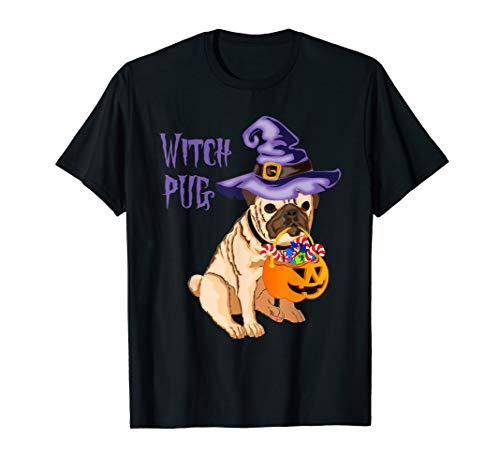 Mops Shirt Kostüm - Halloween lustiger Mops Hexe Süßes oder