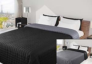 170x210 schwarz stahl anthrazit grau Tagesdecke Bettüberwurf Steppbettüberwurf Steppung zweiseitig Eva
