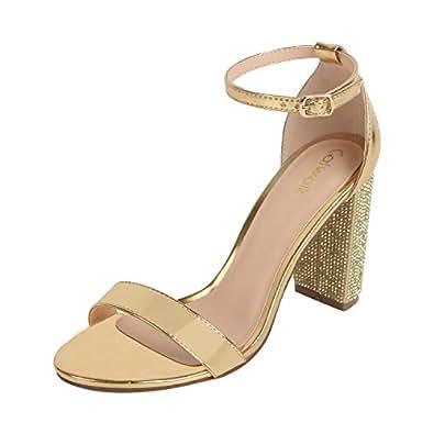 Catwalk Women's Gold Block Heel Sandals Fashion 5 UK/India (37 EU) (3634XX-5)