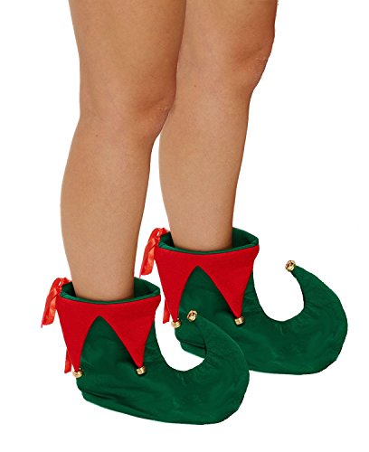 Christmas Red & Green Elf/ Santas Helper Boots Adults Fancy Dress Accessory