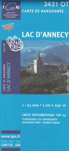 IGN 3431 OT Lac dAnnecy 125000 topographic hiking map Alps