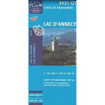 IGN 3431 OT Lac d'Annecy 1:25.000 carte de randonnée topographique (Alpes, France)