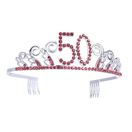 g Tiara Stirnband Happy 50. Geburtstag Red Crystal Strass ()