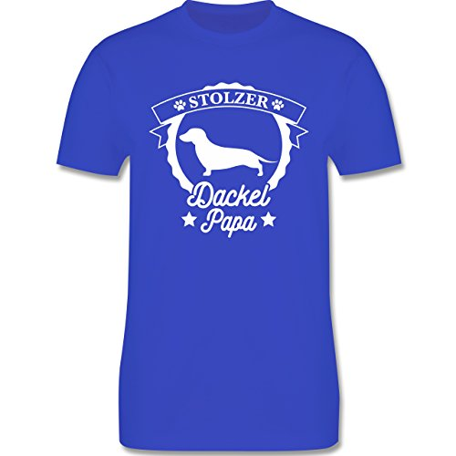 Shirtracer Hunde - Stolzer Dackel Papa - Herren T-Shirt Rundhals Royalblau