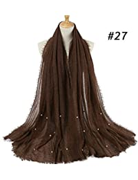 HITSAN INCORPORATION Women bubble plain scarf scarves fringes women soft  solid wrinkle hijabs Scarf fringes 0376df1faed
