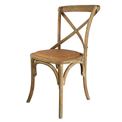 Decoración Vintage Sasha - Silla de madera cruz, estilo Thonet, acabado roble envejecido y asiento de ratán, 44 x 44 x 89 cm