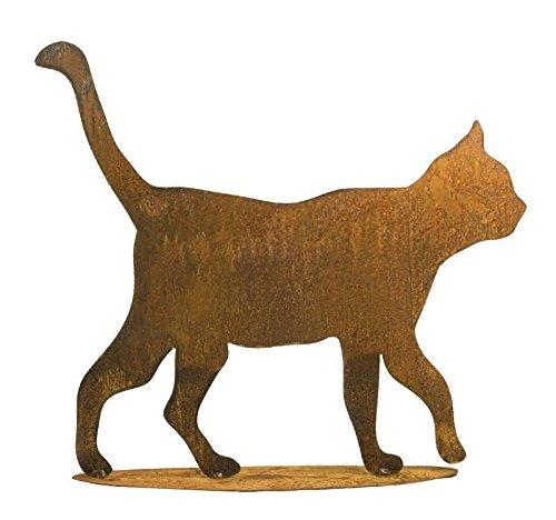 Rostige Gartendeko – Edelrost Tier: Große Katze auf Platte – Höhe 50cm – Rost Dekoration / Dekokatze / Katzendekoration