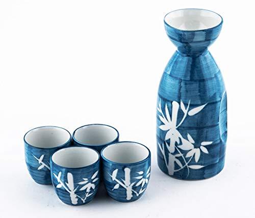 Happy Sales HSSS-LCKBMB Sake-Set, japanisches Design, Porzellan, Schwarz Blue Lucky Bamboo -