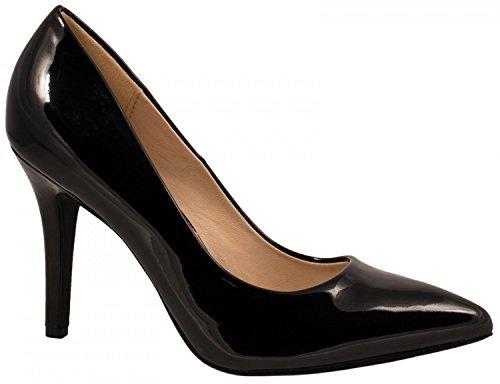 Elara Spitze Damen Pumps | Bequeme Lack Stilettos | Elegante High Heels | chunkyrayan JA70-Schwarz-40 (Bequeme Schwarz)