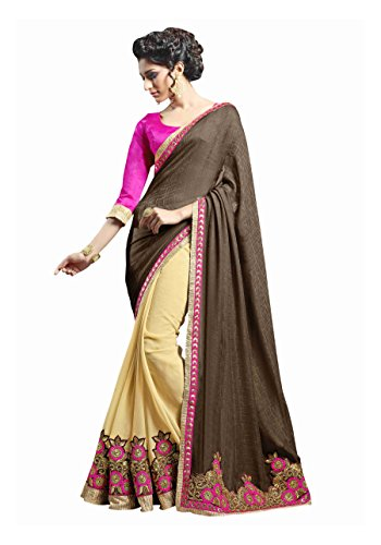 AASVAA Stylish Half & Half Embroidered Fancy Sarees