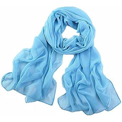 DAYAN Tinta unita semplice scialle foulard Chiffon sciarpe Donne colore azzurro