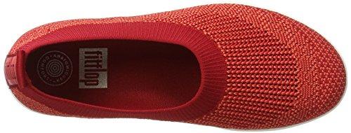 FitFlop Damen Uberknit Slip-On Ballerina Geschlossene Ballerinas, Schwarz, One Size Red (Classic Red)