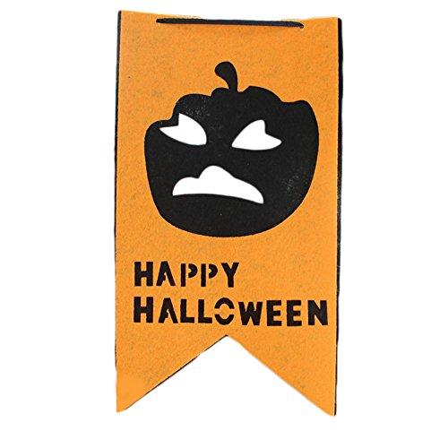 Haodou Wimpelkette 2.5m mit 8 Wimpeln Horror Kürbiskopf Muster Design Girlande für Halloween Festival,Haus Dekoration, Außenparty und Stabdekoration