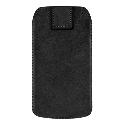 Artwizz Leather Pouch Nubuck (edles Schutzetui mit automatischer Rückzugfunktion) für iPhone 4/4S, dunkelblau schwarz