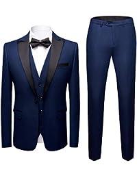 Sliktaa Costume Homme 3 Pièces Formel Slim Fit Classique Smoking de Mariage  Business Bal Veste Gilet 625fa6b581d