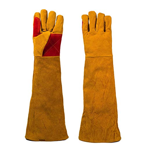 Magiin 1 Paar Schweißerhandschuhe Leder 23.62 Zoll mit Extra Lange Ärmel Extreme Hitze- und Fire Beständig Handschuhe für Kamin, Ofen, Herd, Grill, Schweißen, BBQ, MIG, Topflappen (Kamin Handschuhe Lang)