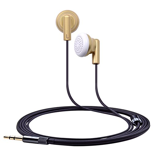 FHCG Auriculares intrauditivos Nuevo Auricular en la Oreja 32ohms Earbud Cabeza Plana Tapones para los oídos DIY HiFi Bass Earbud para la Nuez V2 / V2S Zishan Z1 / Z2 - Oro