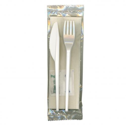 janilec cv252-sp Besteck 6in 1Mahlzeit Pack weiß knife-fork- Löffel, Salz, Pfeffer und 1lagig Serviette (Salz Und Pfeffer Und Serviette)