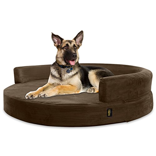 KOPEKS Sofa Redondo Cama Marrón para Perro Perros Mascotas Extra Grande XL...