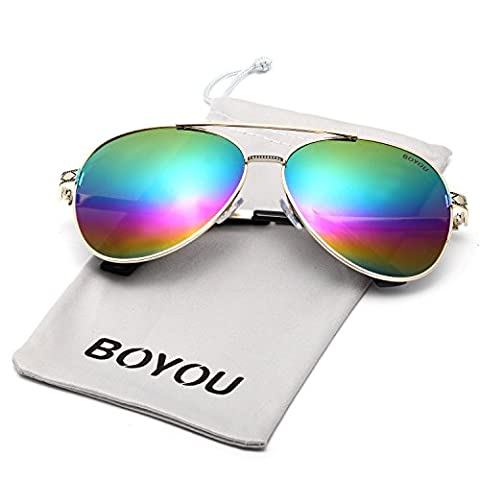 BOYOU Sonnebrille Fashion Mirrored Metal Frame Women Sunglasses
