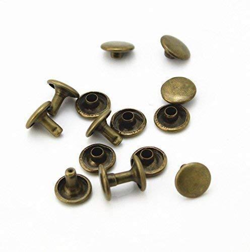 Doppel Cap Nieten, Tubular Metallbolzen für Kleidung Reparatur und Austausch, Nähen, Leder Crafting, Verschönern, 10mm x 9mm, Bronze, 100 Sets - Bronze Doppel-post
