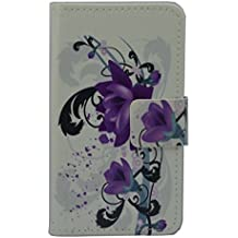 Cubot X15 Funda, Flip Piel Sintética Funda protectora magnético Carcasa tipo cartera con crédito Tarjeta tenant hendidura para Cubot X15 (Purpura flor diseño)