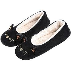 Zapatilla Mujer Invierno Cálida Animal Lindo Calzado de Casa en Lana Suave y Confortable Gato Negro 35/36 EU