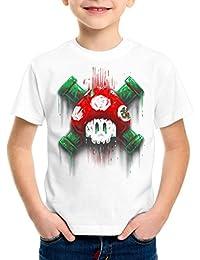 style3 Mario Calavera Camiseta para Niños T-Shirt Videojuego Switch Super  World 685b24f6826