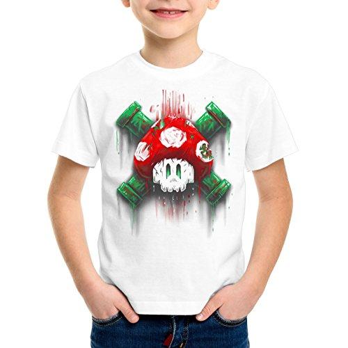 style3 Mario Totenkopf T-Shirt für Kinder videospiel konsole super world, Farbe:Weiß;Größe:152