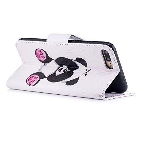 iPhone 7 Plus Hülle, iPhone 7 Plus Wallet Hülle, Gift_Source [ Paar Eule & Baum ] Magnetisch Dünn Leder Folio Flip Klapphülle Etui Schutzhülle Tasche Case mit Magnetverschluss und Kartenfächer Handy T E1-Riesenpanda