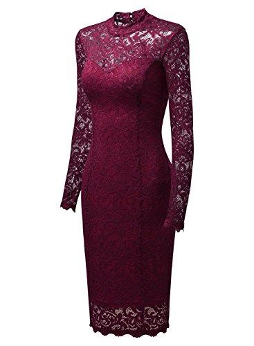Miusol Damen Elegant Kleider Rundhals Knilanges Rotwein Spitzenkleid Stretch Ball-Abendkleider Gr.M -