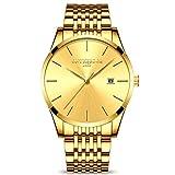 RORIOS Mince Montres Bracelet Business Homme Quartz Analogique Date Acier Inoxydable...