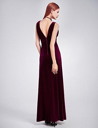 Ever Pretty Damen Sexy Doppel-V-Ausschnitt Samt Abendkleider 07182 Burgundy