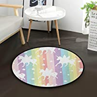 "AMONKA White Unicorn Rainbow Stars Kids Round Rug Baby Crawling Non-Slip Mats Child Activity Play Mat For Bedroom Playroom Home Decor (Diameter 36.2"")"