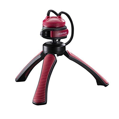 Mantona kaleido Gaia leichtes Mini Tisch und Handstativ (geeignet für Spiegelreflex, Digitalkameras und Camcorder) sundown red