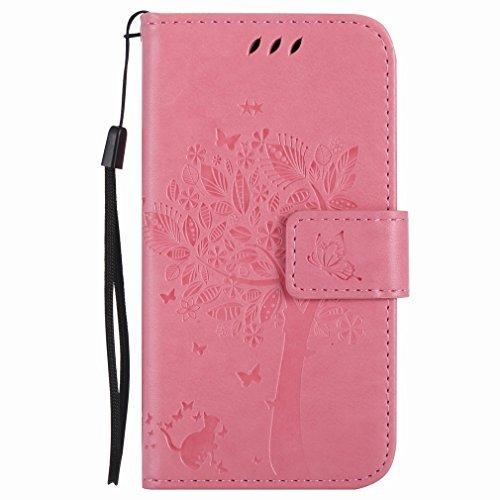 Yiizy Handyhülle für Nokia Lumia 635 RM-974 RM-975 Hülle, Baum-Muster Entwurf PU Ledertasche Beutel Tasche Leder Haut Schale Skin Schutzhülle Cover Stehen Kartenhalter Stil Schutz (Rosa) (635 Für Handy-fälle Nokia Lumia)