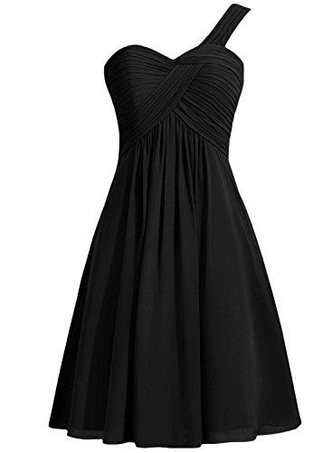 Azbro Women's One Shoulder Solid Chiffon Short Cocktail Dress Black