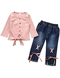 Haokaini S/äugling Kleinkind Brief Lang Kurzarm Shirt Blume Hosen Shorts Trainingsanzug Set f/ür Babys