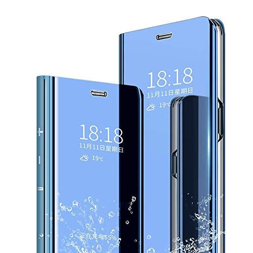 JUNHENG Cover per Samsung Galaxy A750 A7 2018,Ultra-Sottile Specchio Tecnologia di Elettroplaccatura Bookstyle con Funzione Kickstand Flip Cover per Samsung A750 A7 2018(Blu)