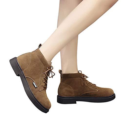 TianWlio Boots Stiefel Schuhe Stiefeletten Frauen Herbst Winter Quadratische Ferse Schuhe Stiefel Wildleder Schnür Einfarbig Runde Form Schuhe Weihnachten Braun 36