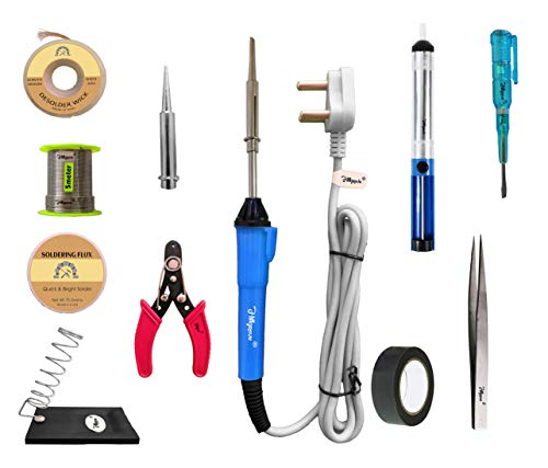 Hillgrove 11In Biggners Complete 25W Soldering Iron Kit, Tweezer, Iron Stand, Soldering Paste, Soldering Wire, Desoldering Wick, Pointed Bit, Tester, Insulation Tape,Cutte,Desolder Pump