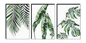 SAF Set of 3 Preety green leaf modern art MDF Self Adhessive UV Textured Painting 36 Inch X 18 Inch( Each Painting Size 12 Inch X 18 Inch) PHSX30197